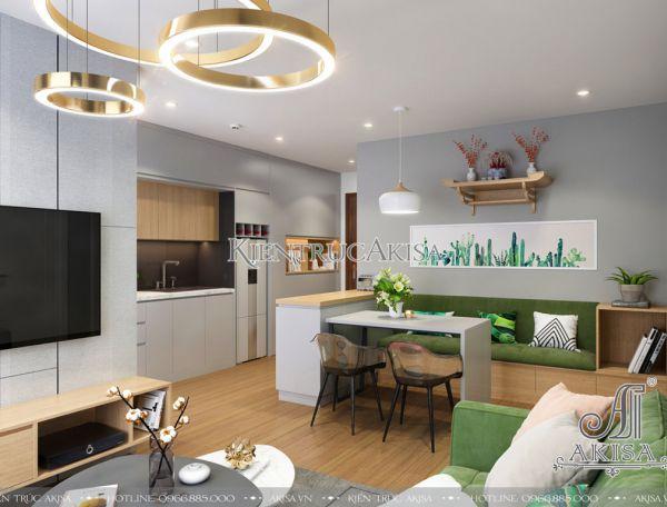 Mẫu nội thất chung cư hiện đại 2 phòng ngủ đẹp NT21039