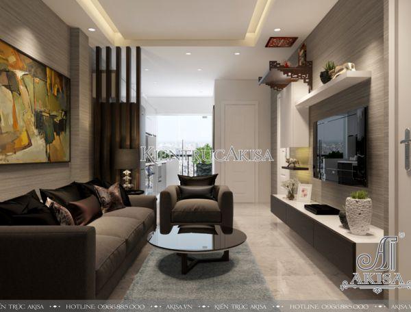 Thiết kế nội thất chung cư 2 phòng ngủ đẹp hiện đại (CĐT: ông Hùng - Hà Nội) NT21042