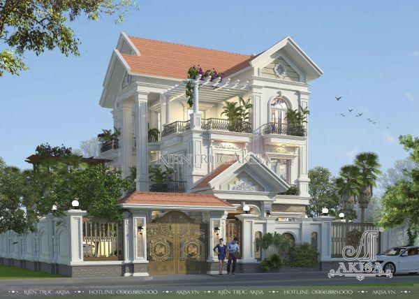 Mẫu thiết kế biệt thự 3 tầng tân cổ điển đẹp (CĐT: ông Thọ - Lào Cai) BT32064
