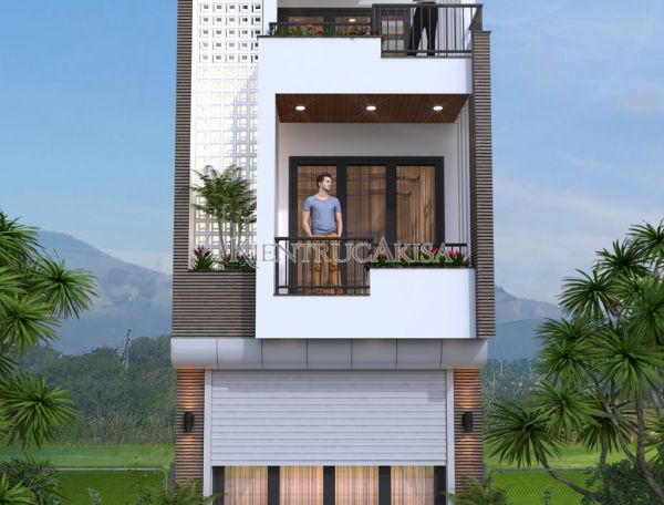 Mẫu nhà lô phố hiện đại 3 tầng đẹp KT31135