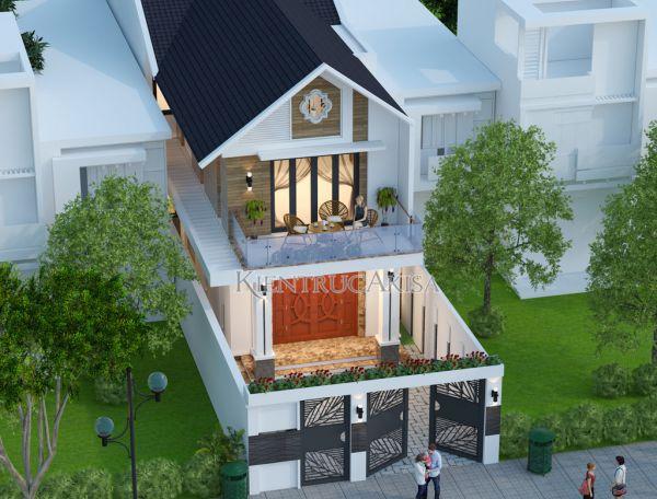 Thiết kế nhà phố 2 tầng hiện đại tại Bắc Ninh KT21078