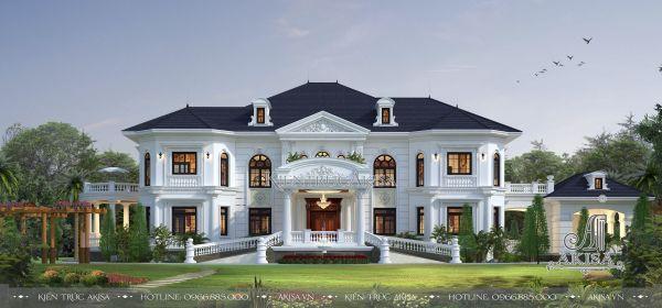 Thiết kế dinh thự 2 tầng tân cổ điển (CĐT: ông Thiện – Hưng Yên) BT22129