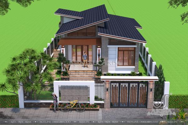 Mẫu nhà vườn đẹp 1 tầng hiện đại mái lệch (CĐT: bà Loan – Hải Phòng) BT11048
