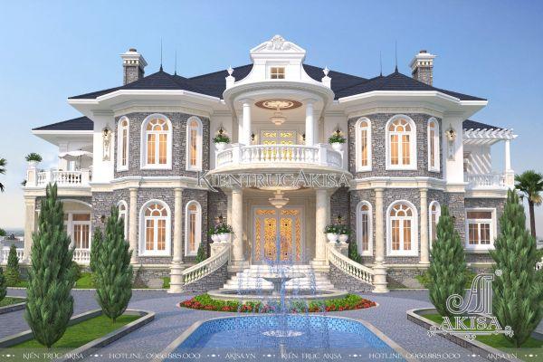 Thiết kế biệt thự lâu đài tân cổ điển châu Âu (ông Tuấn - Quảng Ninh) BT22123
