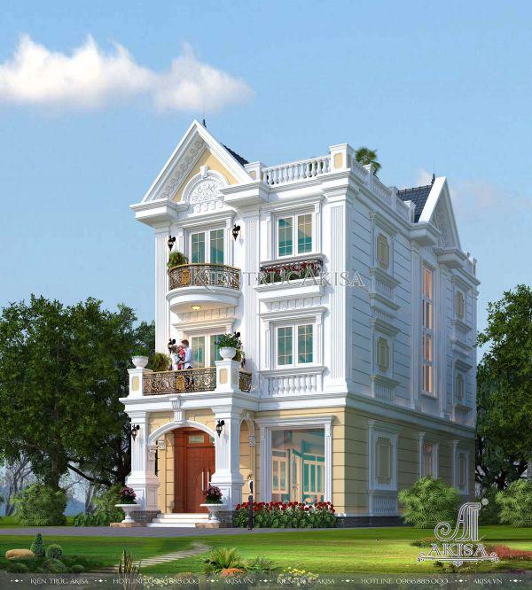 Phương án thiết kế biệt thự tân cổ điển 3 tầng đẹp (CĐT: ông Đạt - Hà Nội) BT32005