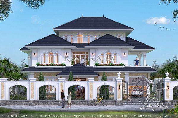 Mẫu biệt thự tân cổ điển mái Nhật 3 tầng đẹp 17x11m (CĐT: bà Mai - Hà Tĩnh)BT32176