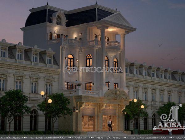 Mẫu nhà phố 4 tầng kiến trúc Pháp đẹp đẳng cấp KT42188