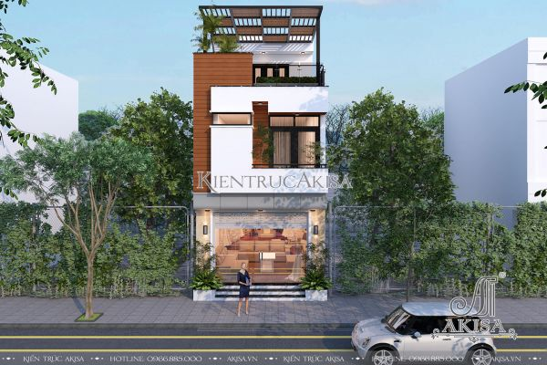 Thiết kế nhà phố 3 tầng phong cách hiện đại mặt tiền 5m KT31067