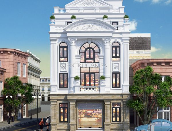 Akisa thiết kế nhà văn phòng tân cổ điển 4 tầng đẹp (CĐT: ông Vương - Hưng Yên) KT42120