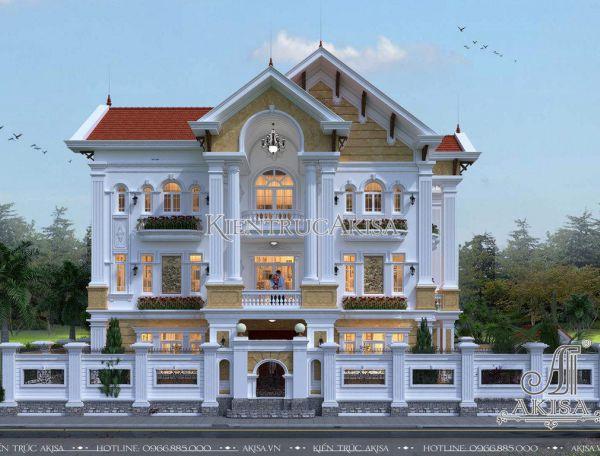 Thiết kế biệt thự 3 tầng tân cổ điển châu Âu (CĐT: bà Phượng - Sơn La) BT32108