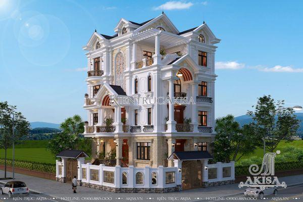Thiết kế biệt thự 5 tầng tân cổ điển mái thái 2 mặt tiền đẹp BT52088