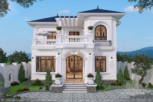 Mẫu thiết kế biệt thự tân cổ điển 2 tầng đẹp 12x12m (CĐT: ông Cường - Nha Trang) BT22168