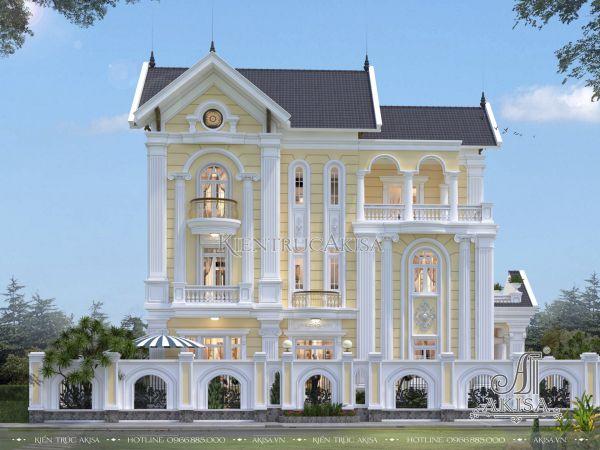 Thiết kế biệt thự tân cổ điển châu Âu 3 tầng mái Thái 120m2 (CĐT: ông Vĩnh - Hải Dương) BT32212
