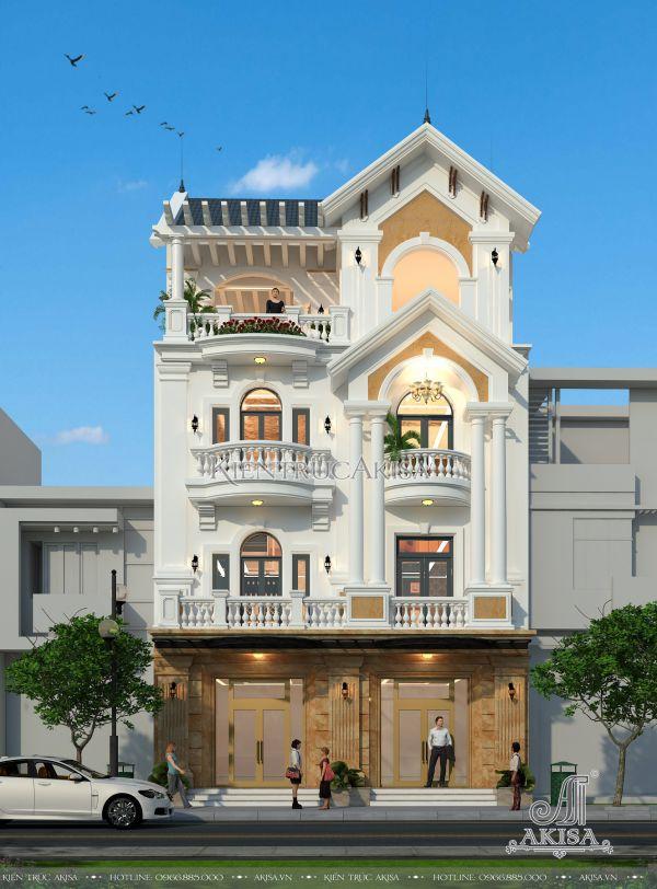 Mẫu biệt thự phố tân cổ điển 4 tầng mái thái đẹp sang trọng (CĐT: ông Giang - Bắc Ninh) BT42239