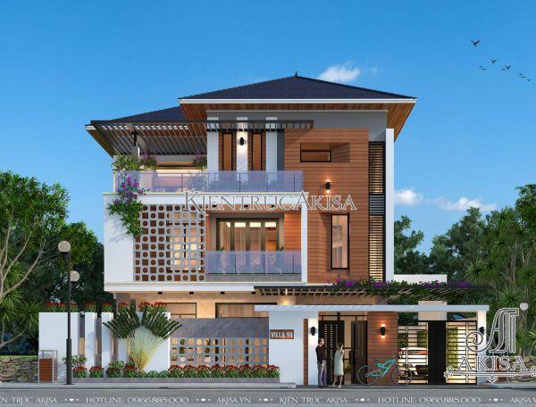 Mẫu biệt thự hiện đại mái Nhật 3 tầng (CĐT: ông Mạnh - Hà Nam) BT31227
