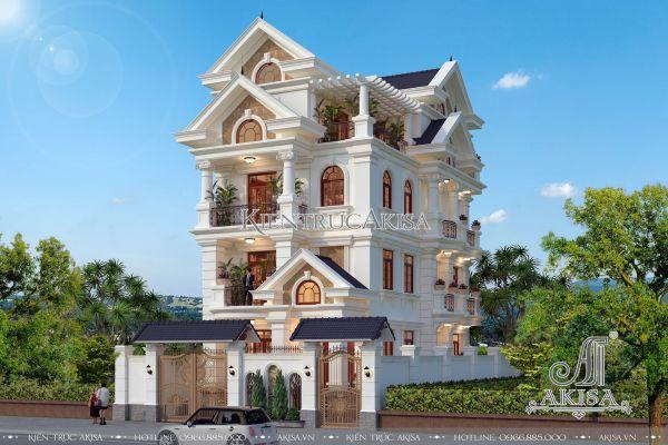 Ấn tượng với mẫu biệt thự 4 tầng mái thái phong cách mặt tiền 8m BT52250