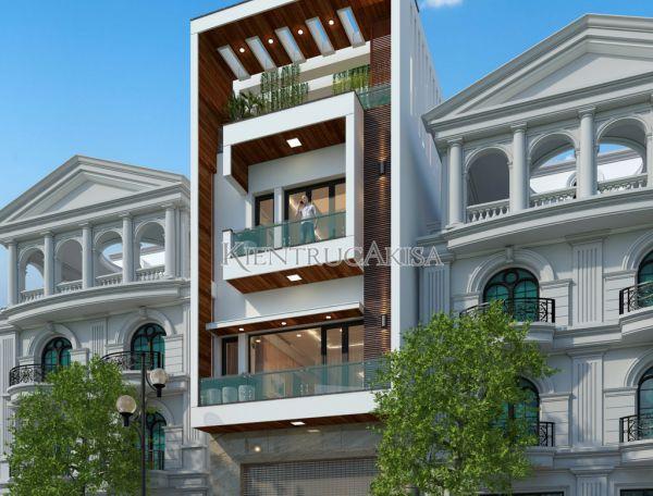 Thiết kế nhà phố hiện đại 4 tầng đẹp (CĐT: ông Hưng - Thái Bình) KT41226