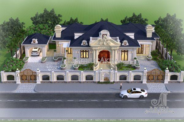 Thiết kế biệt thự 1 tầng kiểu Pháp (CĐT:ông Dư - Long An) BT12099