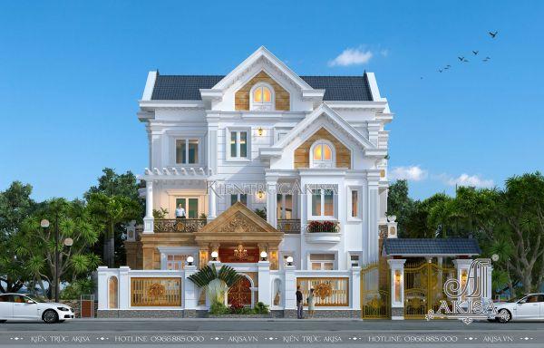 Mẫu biệt thự mái thái tân cổ điển 4 tầng tuyệt đẹp (CĐT: ông Vũ - Quảng Trị) BT42231