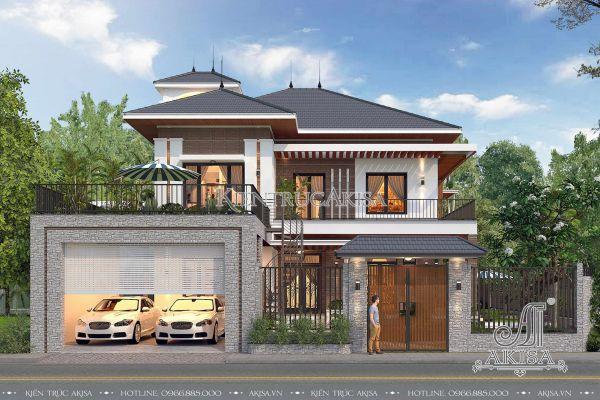 Ấn tượng bản vẽ thiết kế biệt thự 2 tầng mái Nhật 2 mặt tiền (CĐT: ông Sương - Hưng Yên) BT21181