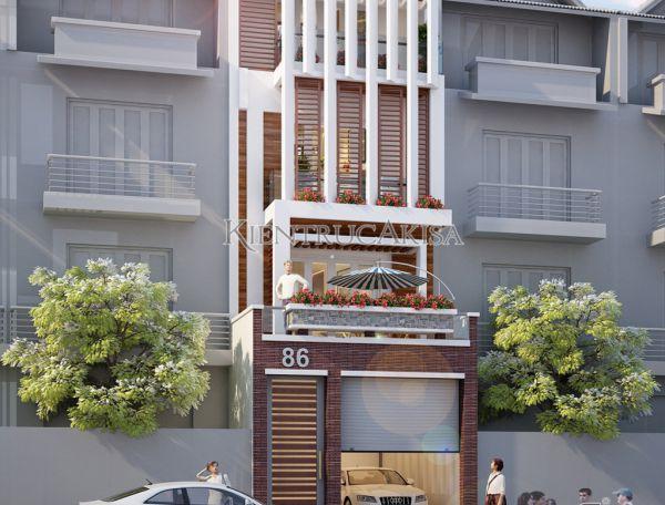 Ấn tượng thiết kế nhà phố 4 tầng hiện đại đẹp độc đáo KT41276