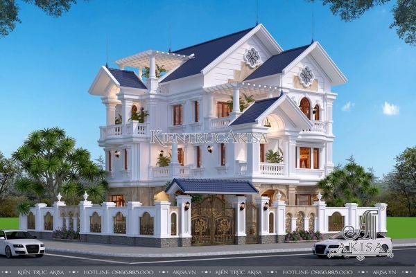 Ấn tượng thiết kế biệt thự tân cổ điển 3 tầng mái Thái 2 mặt tiền (CĐT: ông Khải - Vĩnh Phúc) BT32273