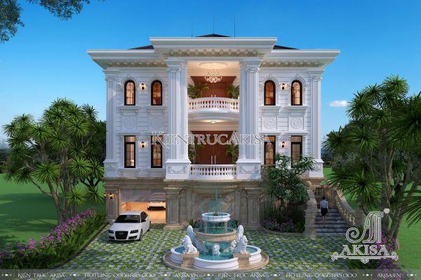 Mẫu biệt thự tân cổ điển đẹp 3 tầng mặt tiền 14m (CĐT: ông Sơn - Nghệ An) BT32237