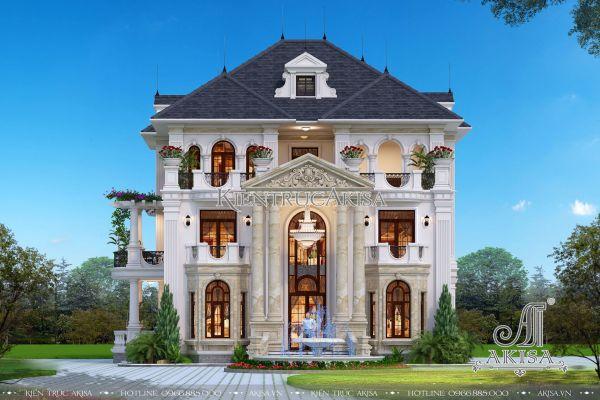Thiết kế biệt thự dinh thự phong cách Pháp (ông Thanh - Hưng Yên) BT32257