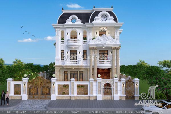 Thiết kế biệt thự Pháp 3 tầng mặt tiền 12m (CĐT: ông Vinh - Nghệ An) BT32201