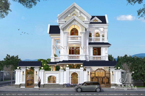 Thiết kế biệt thự 3 tầng 2 mặt tiền tân cổ điển đẹp (CĐT: ông Hùng - Hưng Yên) BT32262