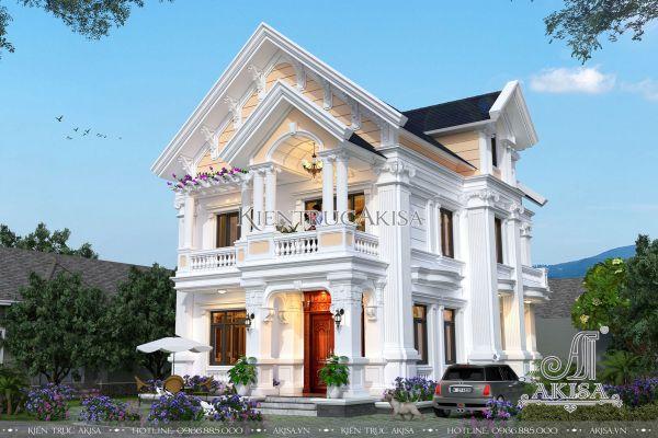 Mẫu biệt thự mini 2 tầng tân cổ điển mái thái (CĐT: ông Minh - Hà Nội) BT22264