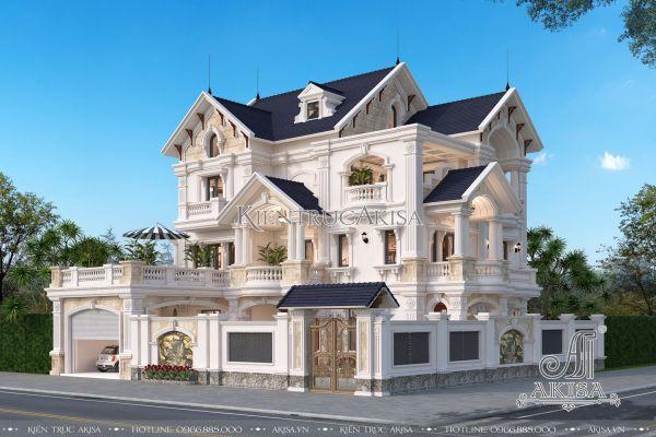 Thiết kế biệt thự tân cổ điển 2 mặt tiền 15x12m (CĐT: ông Đức - Thanh Hóa) BT32274