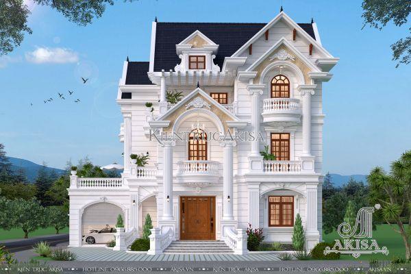 Mẫu biệt thự tân cổ điển Pháp 3 tầng 2 mặt tiền (CĐT: ông Duy - Đồng Nai) BT32281