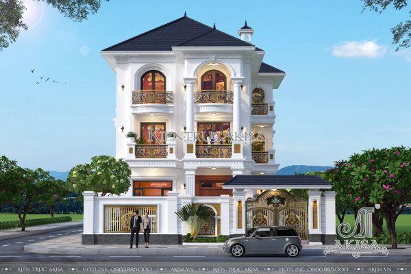 Thiết kế biệt thự tân cổ điển 3 tầng 10x16m đẹp (CĐT: ông Sơn - Hà Nội) BT32283