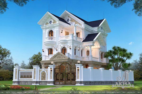 Mẫu nhà biệt thự 3 tầng mái thái phong cách tân cổ điển (CĐT: ông Chung - Hà Nam) BT32284