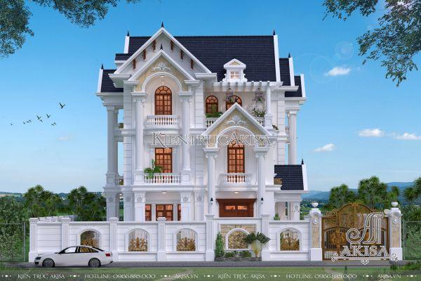 Thiết kế biệt thự tân cổ điển mái Thái 3 tầng 14x15m (CĐT: bà Bình - Long An) BT32290