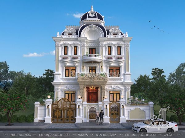 Vẻ đẹp của thiết kế lâu đài biệt thự Pháp 4 tầng (ông Linh - Đồng Nai) BT42233