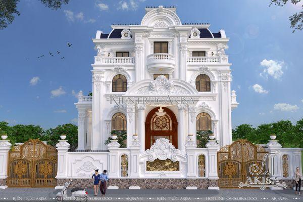Thiết kế biệt thự tân cổ điển Pháp 4 tầng BT42254 (Bà Thúy - Đồng Nai)