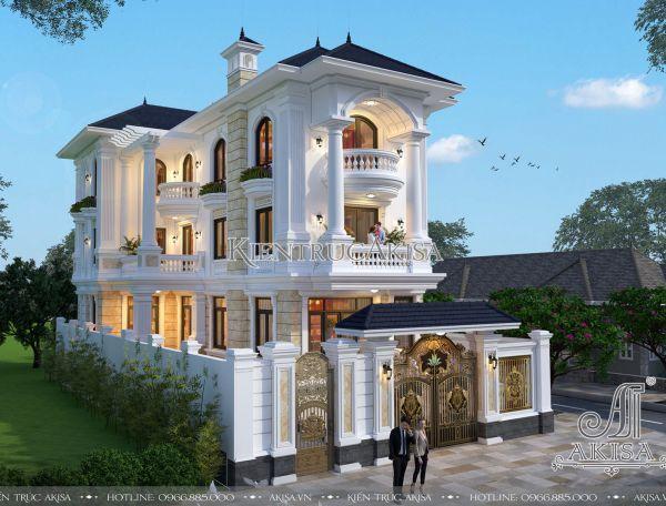 Thiết kế biệt thự 3 tầng tân cổ điển mặt tiền 10m (CĐT: bà Hiền - Nghệ An) BT32265