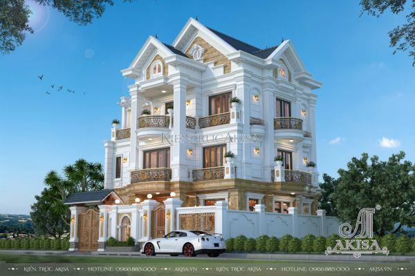 Mẫu biệt thự 4 tầng mái thái tân cổ điển 11x11m đẹp ấn tượng (CĐT: ông Cường - Bắc Ninh) BT42277