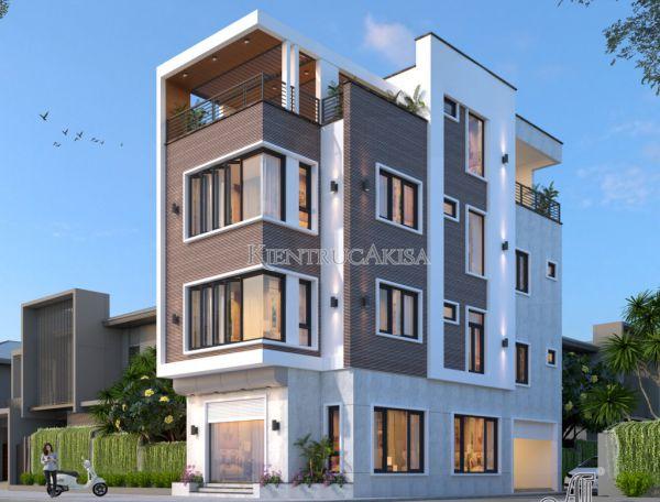 Mẫu nhà phố hiện đại 4 tầng 2 mặt tiền (CĐT: ông Nam - Vĩnh Phúc) KT41303