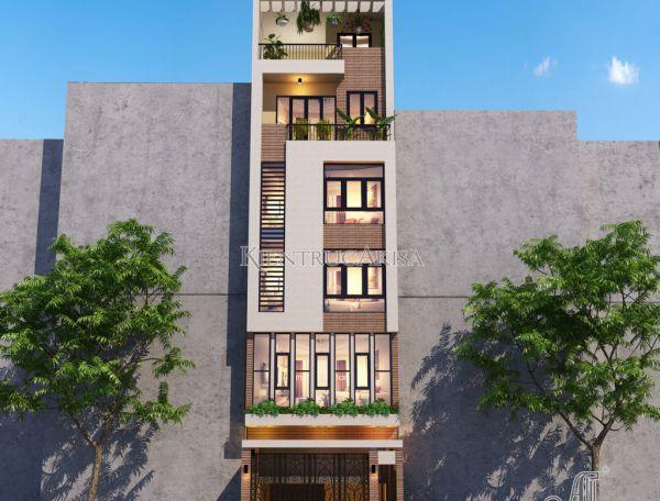 Thiết kế nhà phố 6 tầng hiện đại đẹp tại Hà Nội (CĐT: bà Huyền) KT61300