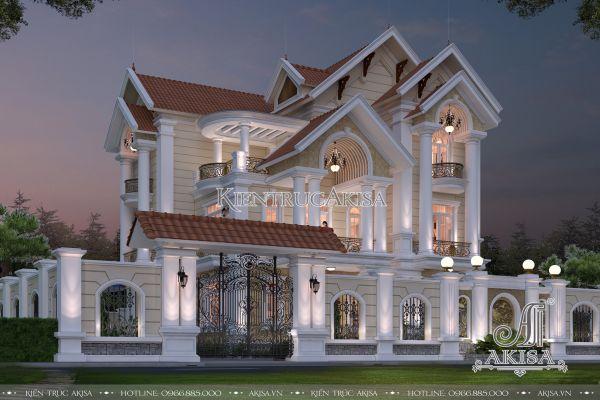 Mẫu biệt thự tân cổ điển 3 tầng mái thái đẹp (CĐT: bà Xuyến - Hòa Bình) BT32328