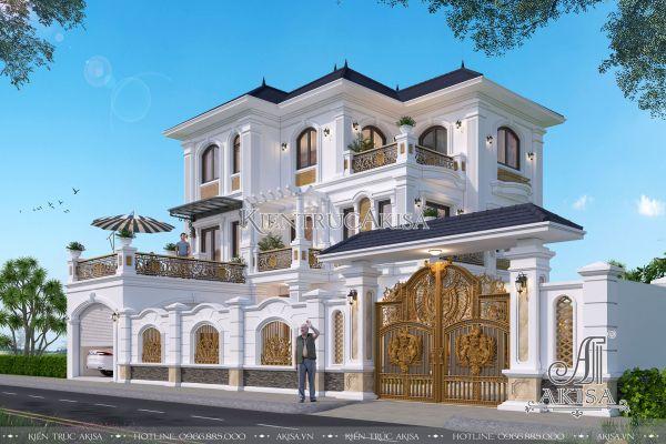 Biệt thự tân cổ điển đẹp 3 tầng đẳng cấp sang trọng (CĐT: ông Quyền - Hà Nội) BT32327