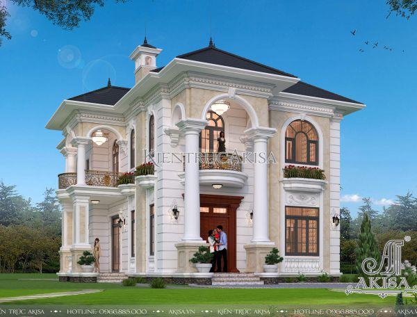 Phối cảnh biệt thự 2 tầng tân cổ điển 11x16m đẹp (CĐT: ông Tùng - Thái Nguyên) BT22326