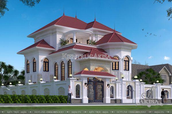 Akisa thiết kế biệt thự tân cổ điển châu Âu 3 tầng (CĐT: ông Hùng - Bình Dương) BT32329