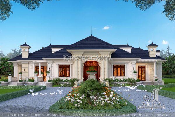 Mẫu nhà biệt thự kiểu Pháp 1 tầng tân cổ điển 3 phòng ngủ đẹp nhất Yên Bái (CĐT: ông Long) BT12330