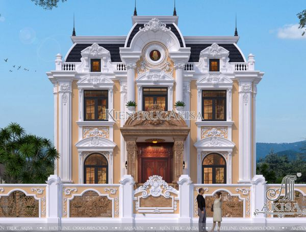 Siêu phẩm thiết kế biệt thự kiểu Pháp 2 tầng (CĐT: ông Linh - Nghệ An) BT32313
