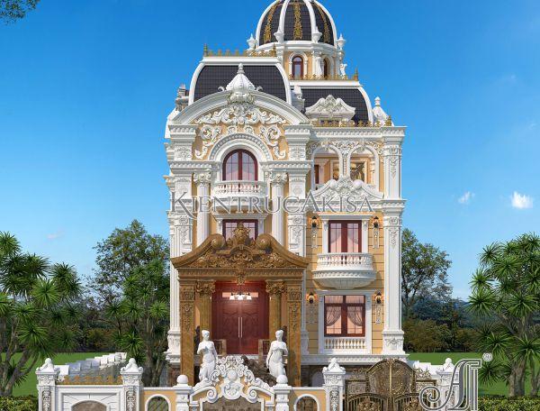 Thiết kế biệt thự lâu đài Pháp 5 tầng đẹp (CĐT: bà Giang - Phú Thọ) BT52297