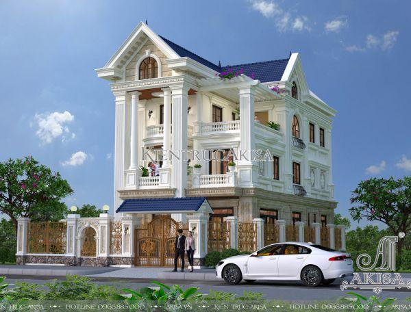 Thiết kế biệt thự tân cổ điển đẹp 3 tầng mặt tiền 9m (CĐT: ông Nam - Nghệ An) BT32092